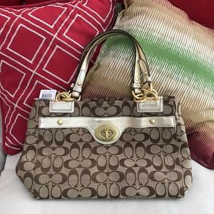 COACH khaki brown satchel handbag tote